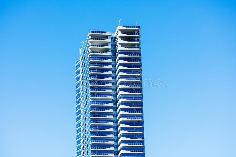 Exterior view of modern luxury high-rise condominium tower The Martin royalty free stock photo