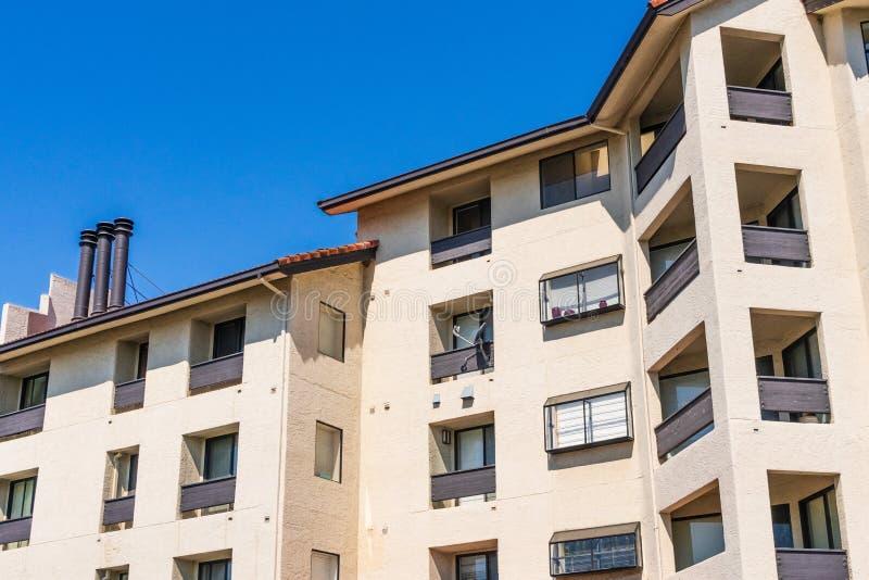 Exterior view of multifamily residential building; Palo Alto, San Francisco bay area, California royalty free stock photo