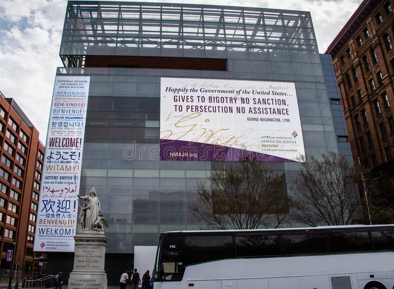 Front of National Museum of American Jewish History Philadelphia. Exterior view of the National Museum of American Jewish History in Philadelphia. The signs say stock photos