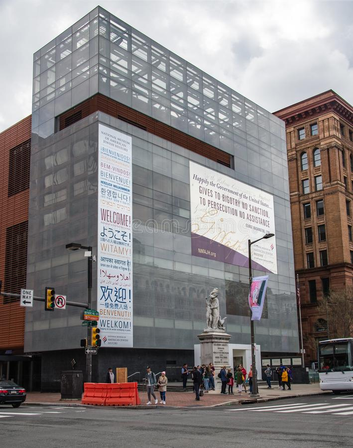 National Museum of American Jewish History Philadelphia. Exterior view of the National Museum of American Jewish History in Philadelphia. The signs say `welcome royalty free stock photos