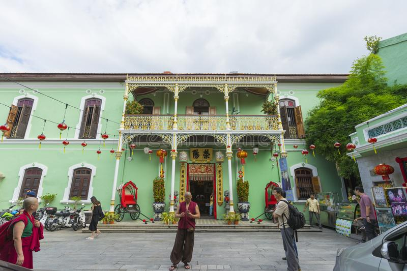 Exterior view of Pinang Peranakan Mansion in Penang royalty free stock images