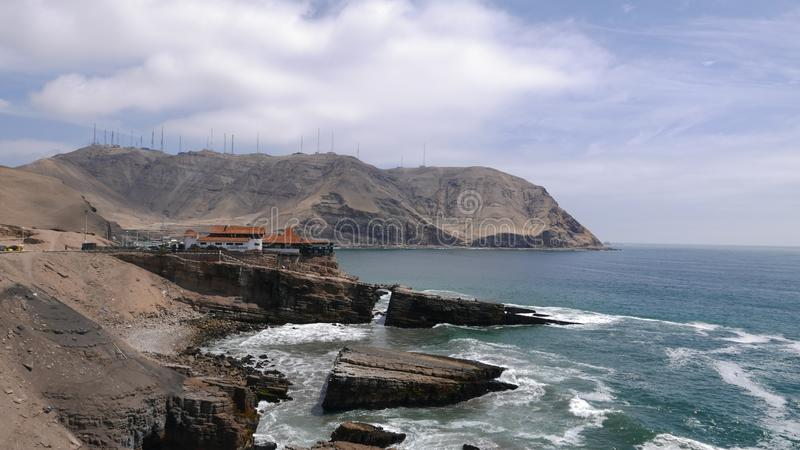 Restaurant built over a cliff in Chorrillos, Lima royalty free stock images