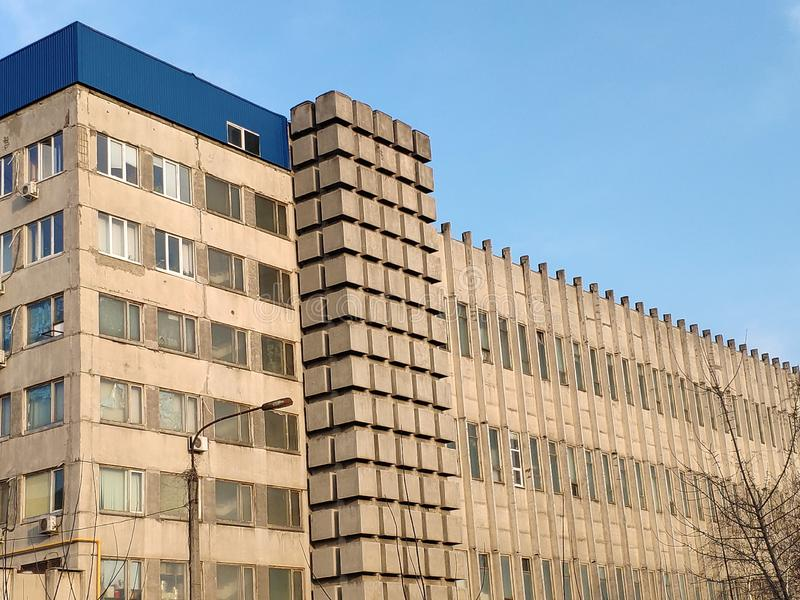 Exterior View of a 1960s Era Abandoned Office Building in the Brutalist Architectural Style.  stock photo