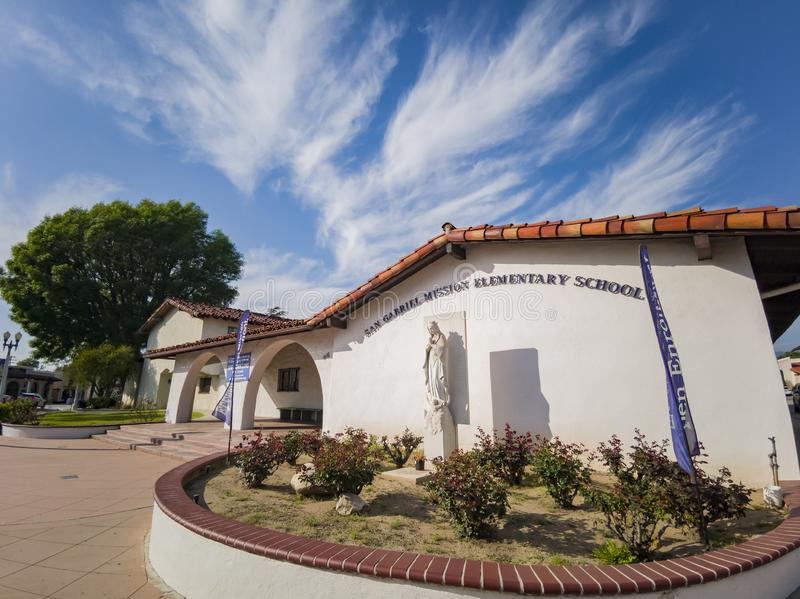 Exterior view of the San Gabriel Mission Elementary School. Los Angeles, MAR 26: Exterior view of the San Gabriel Mission Elementary School on MAR 26, 2019 at royalty free stock photo