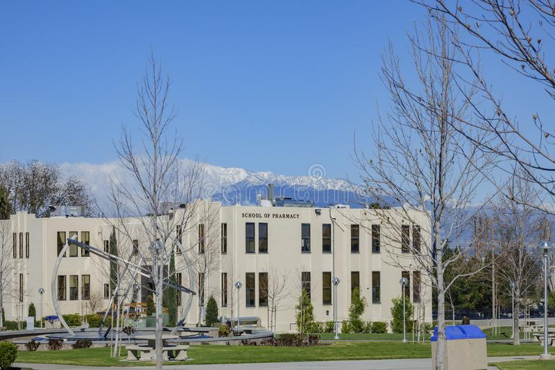 Exterior view of the School of Pharmacy building in the Loma Linda University. Los Angeles, MAR 20: Exterior view of the School of Pharmacy building in the Loma stock images