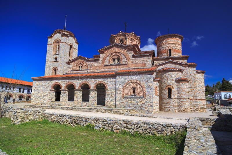 Exterior view of St. Panteleimon in Ohrid, Macedonia. Ohrid, Macedonia - April 7, 2017: Exterior view of St. Panteleimon in Ohrid, Macedonia royalty free stock photography