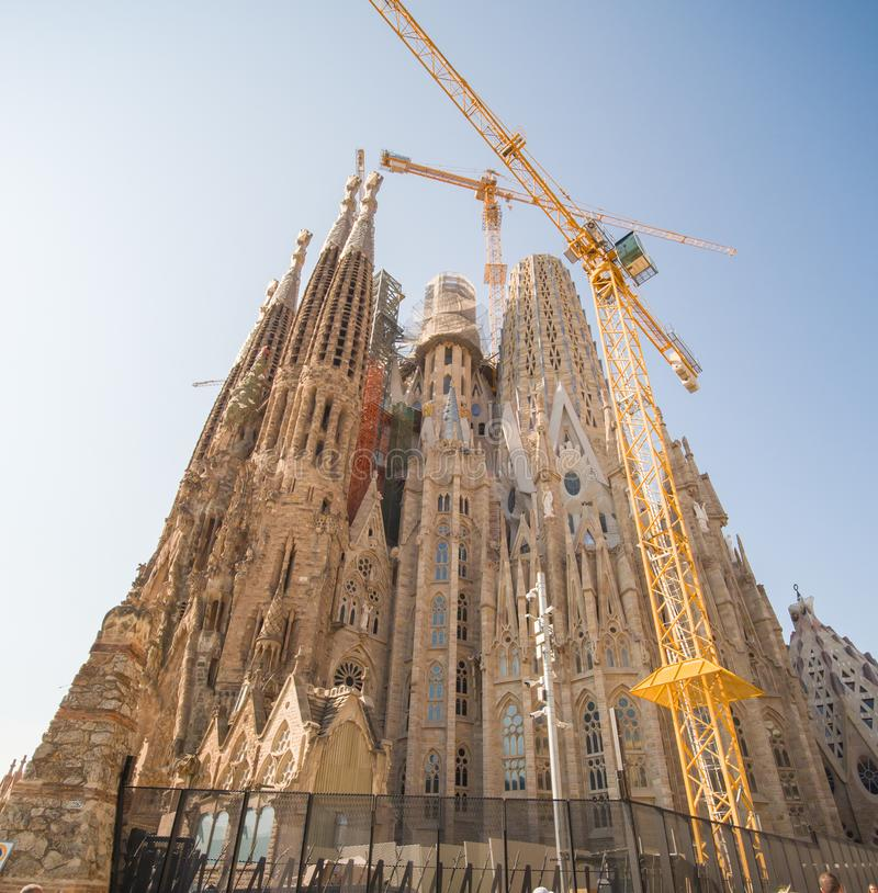 Barcelona, Spain - August 5, 2018: Sagrada Familia in spanish. View of the high towers in construction. royalty free stock photography