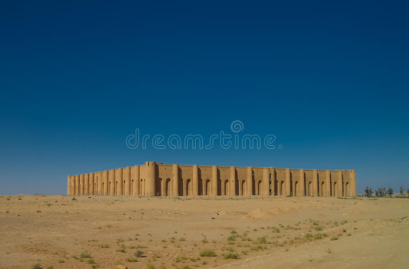 Exterior view to Al-Ukhaidir Fortress near Karbala, Iraq. Exterior view to Al-Ukhaidir Fortress aka Abbasid palace of Ukhaider near Karbala, Iraq stock image