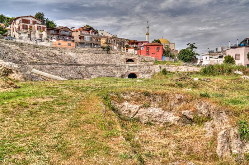 Exterior view to ancient roman Amphitheatre in Durres , Albania royalty free stock image