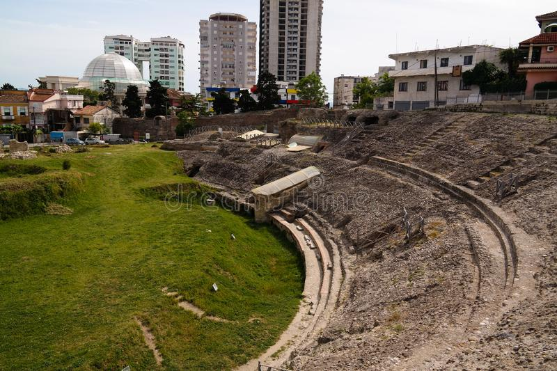 Exterior view to ancient roman Amphitheatre in Durres , Albania royalty free stock photography