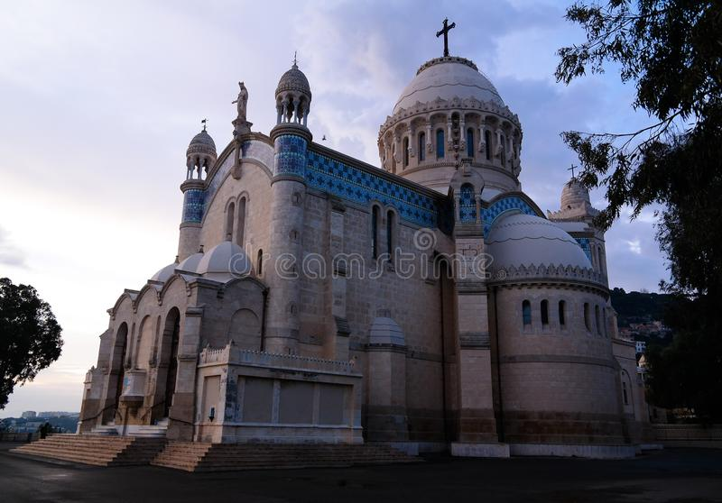 Exterior view to Cathedrale Notre Dame d`Afrique at Algiers, Algeria. Exterior view to Cathedrale Notre Dame d`Afrique, Algiers, Algeria royalty free stock photo