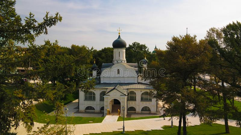 Exterior view to Church of the conception of Anne in the Corner from modern park Zaryadye, Moscow, Russia royalty free stock images