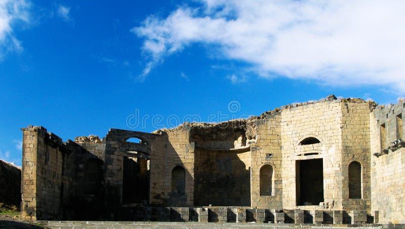 Exterior view to roman memorial monument Philippeion ruin at Philippopolis,Shahbaa, Syria stock photo