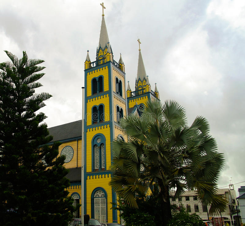 Exterior view to Saint Peter and Paul Cathedral, Paramaribo, Suriname. Exterior view to Saint Peter and Paul Cathedral in Paramaribo, Suriname royalty free stock photos