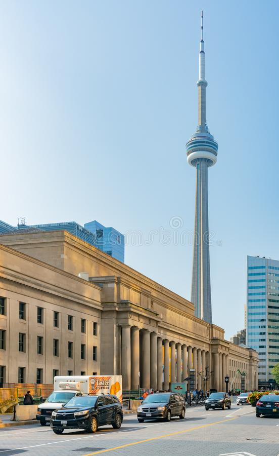 Exterior view of the Union Station with CN Tower. Toronto, OCT 8: Exterior view of the Union Station with CN Tower on OCT 8, 2018 at Toronto, Canada stock photo
