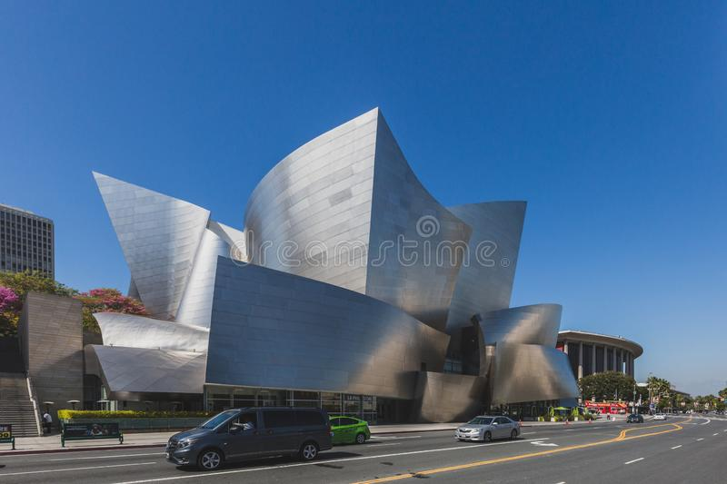 Exterior view of Walt Disney Concert Hall and streets of downtown Los Angeles royalty free stock image