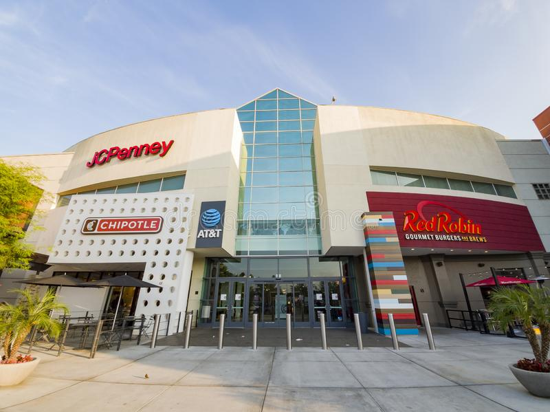 Exterior view of the West Covina shopping mall. West Covina, JUN 15: Exterior view of the shopping mall on JUN 15, 2019 at West Covina, California royalty free stock photography