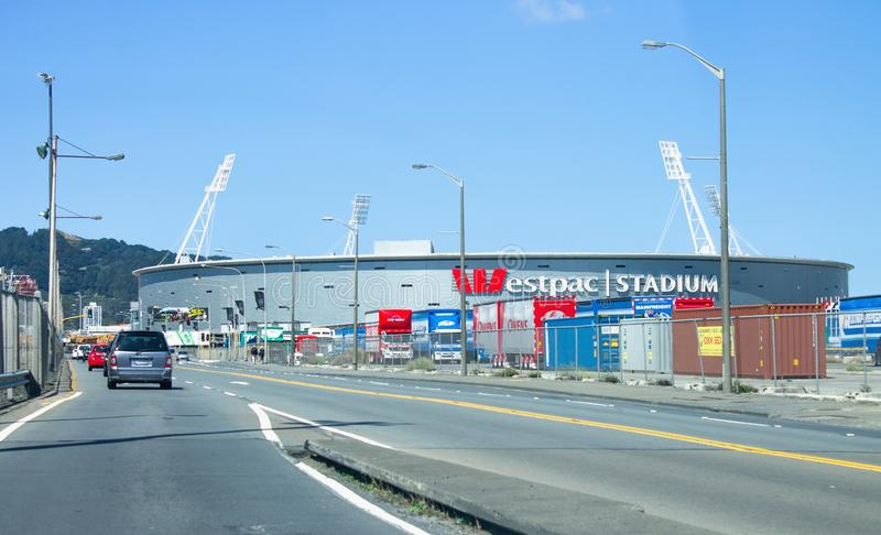 Exterior view of the Westpac Stadium stock images