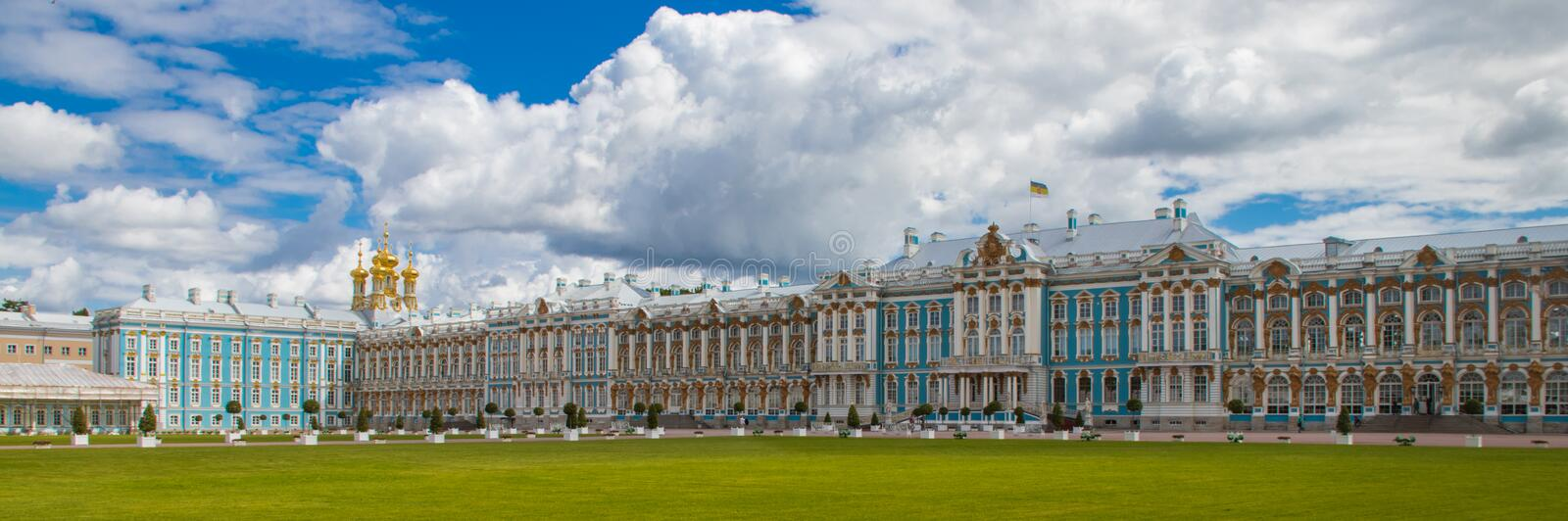 Exterior View of Catherine Palace in St. Petersburg royalty free stock photos
