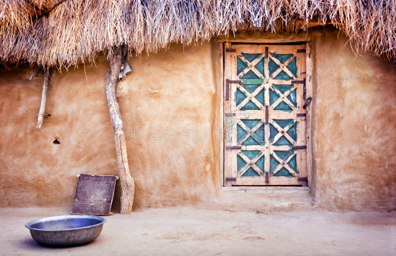 Village Hut. Exterior of a village hut in the Great Thar Desert, India royalty free stock photo