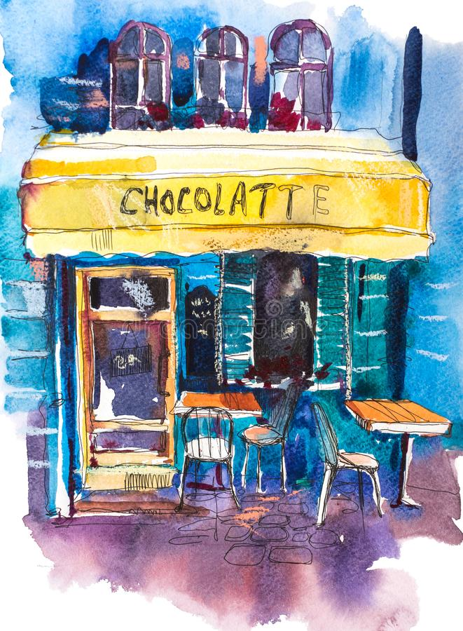 Exterior of vintage charming cafe terrace Watercolor illustration. royalty free illustration