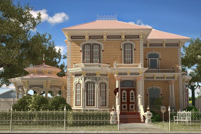 Exterior vitoriano luxuoso da casa do estilo. fotos de stock