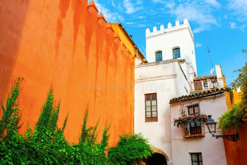 Exterior wall of the Alcazar in Seville, Spain royalty free stock photos