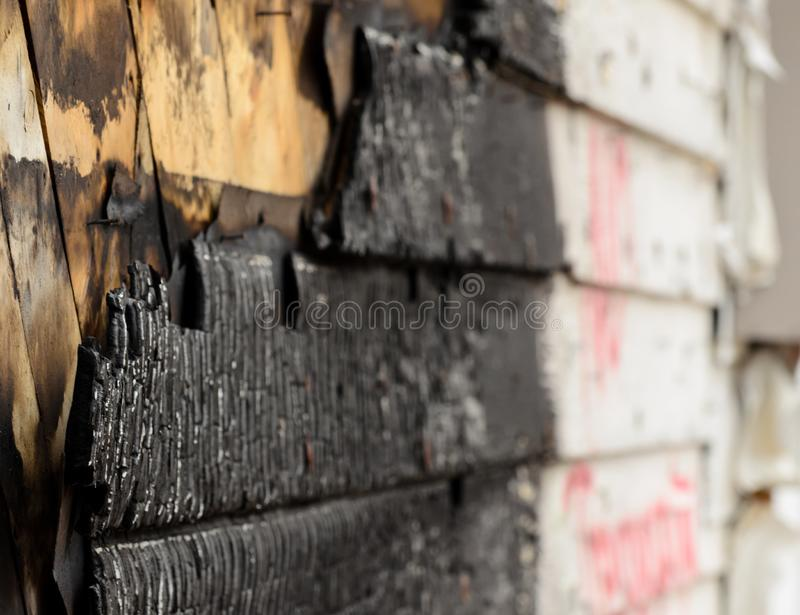 Exterior wall after a house fire stock photo