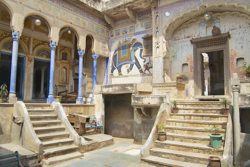 Exterior wall painings of the haveli, Mandawa, India. stock images