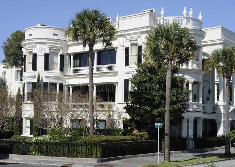 Exterior of white mansion royalty free stock photo