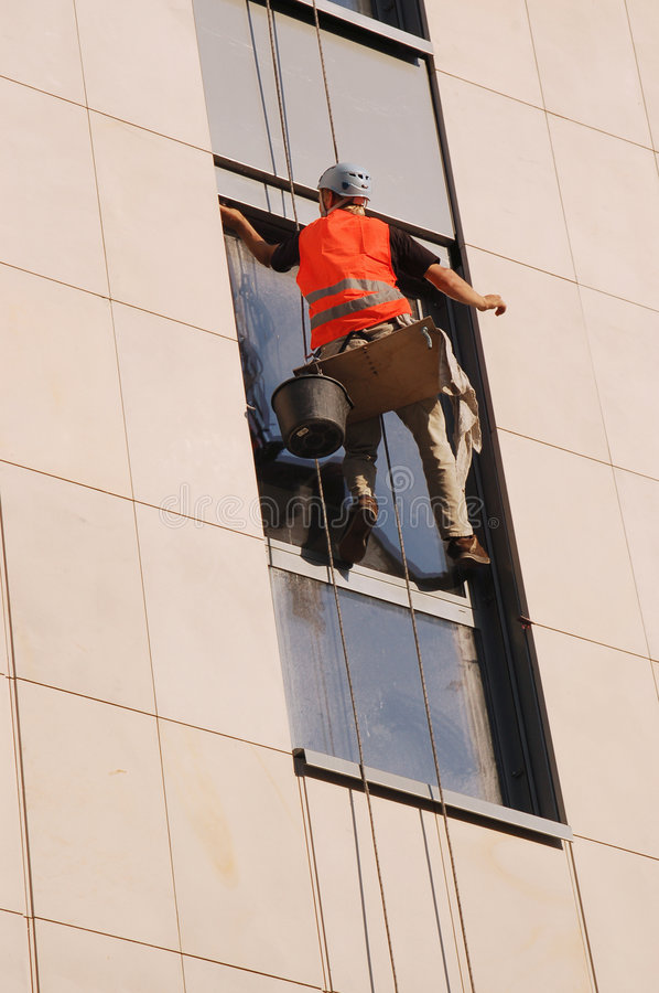 Download Exterior window washing stock photo. Image of extreme - 1484146