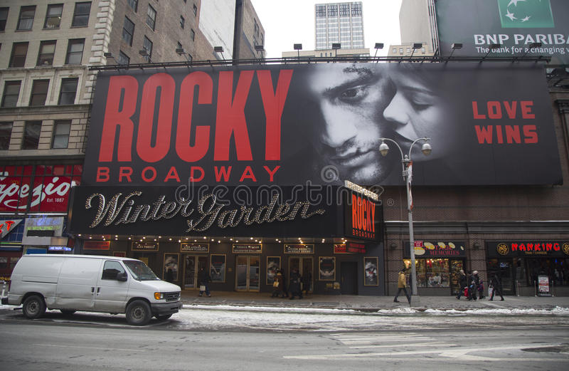 The exterior of the Winter Garden theater, featuring the play Rocky The Musical on Broadway in New York City royalty free stock images