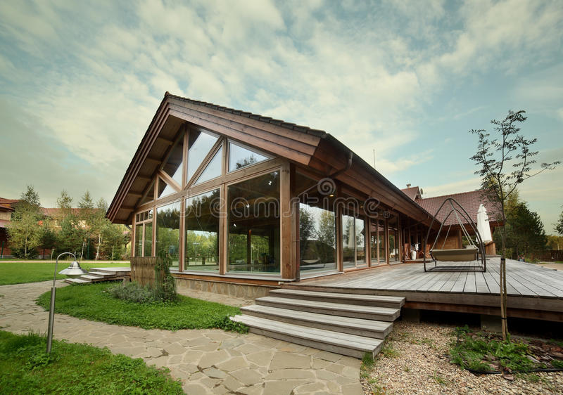 Download Exterior Of Wooden House With Swimming Pool Stock Image - Image: 35678693