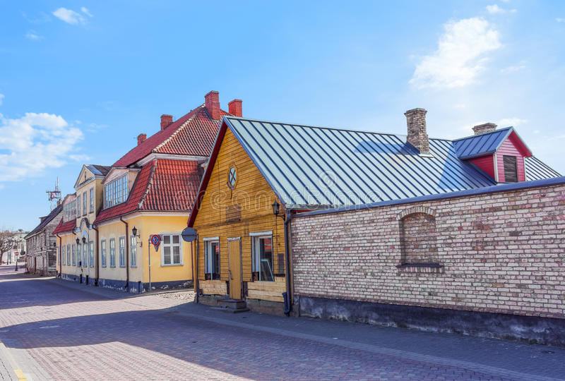 Exterior of wooden houses in Ventspils of Latvia. It is a city in the Courland region of Latvia. Latvia is one of the Baltic countries stock image