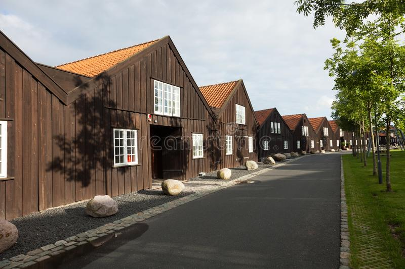 Exterior of wooden terraced houses in Copenhagen royalty free stock images