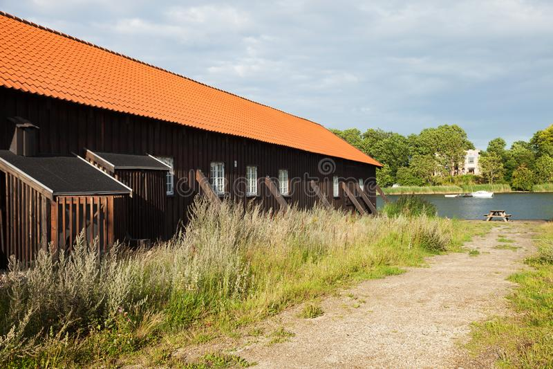 Exterior of wooden terraced houses in Copenhagen royalty free stock photo