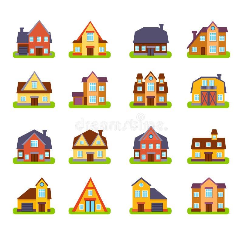 Exteriores suburbanos das casas de Real Estate ajustados ilustração stock