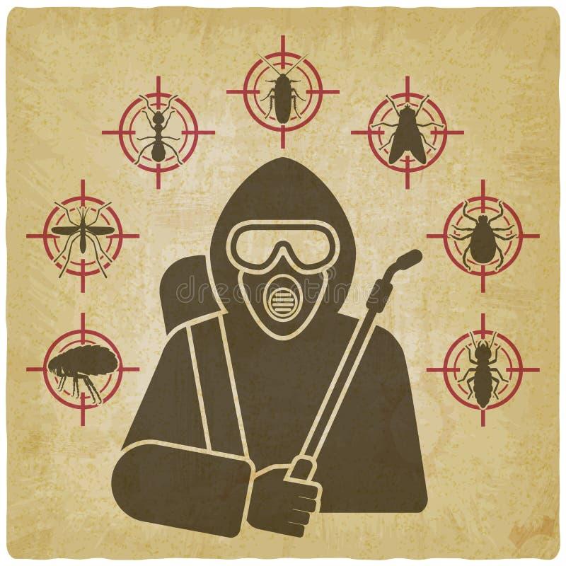 Exterminador con la silueta del rociador rodeada por los iconos del parásito de insecto en fondo del vintage ilustración del vector