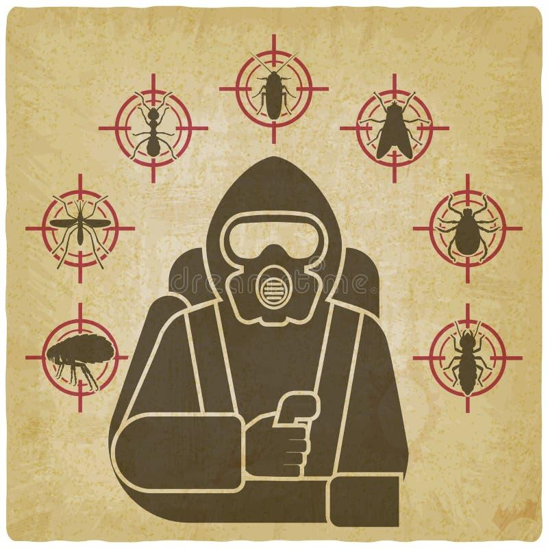 Exterminador do controlo de pragas na silhueta do terno protetor cercada por ícones da praga de inseto no fundo do vintage ilustração do vetor