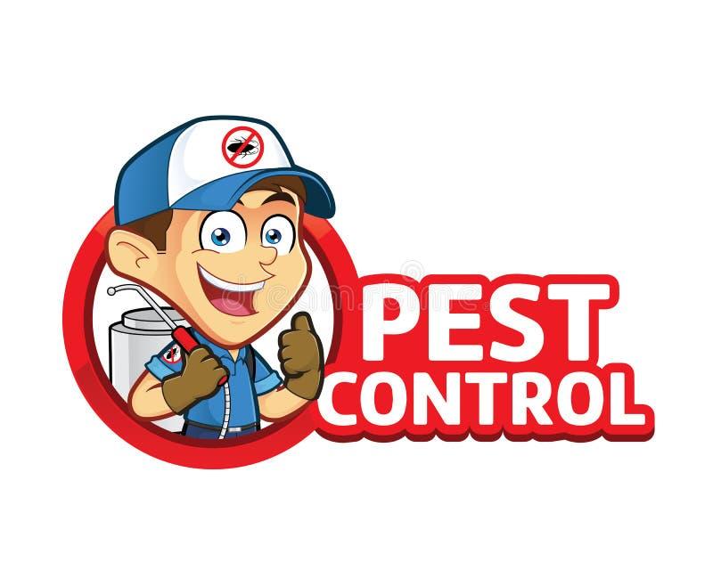 Exterminador ou controlo de pragas com logotipo ilustração stock