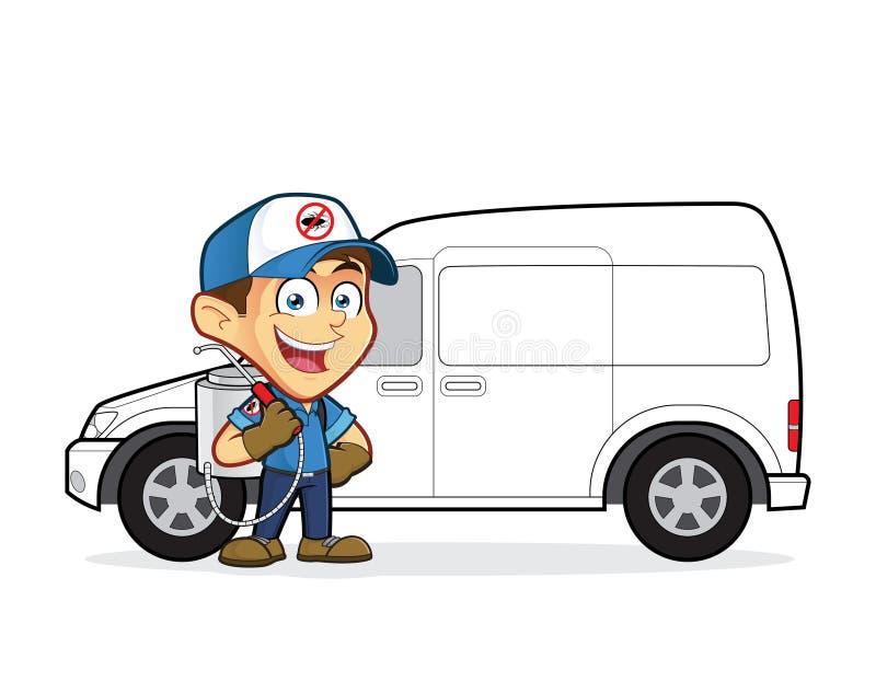 Exterminador ou controlo de pragas que estão na camionete dianteira ilustração do vetor