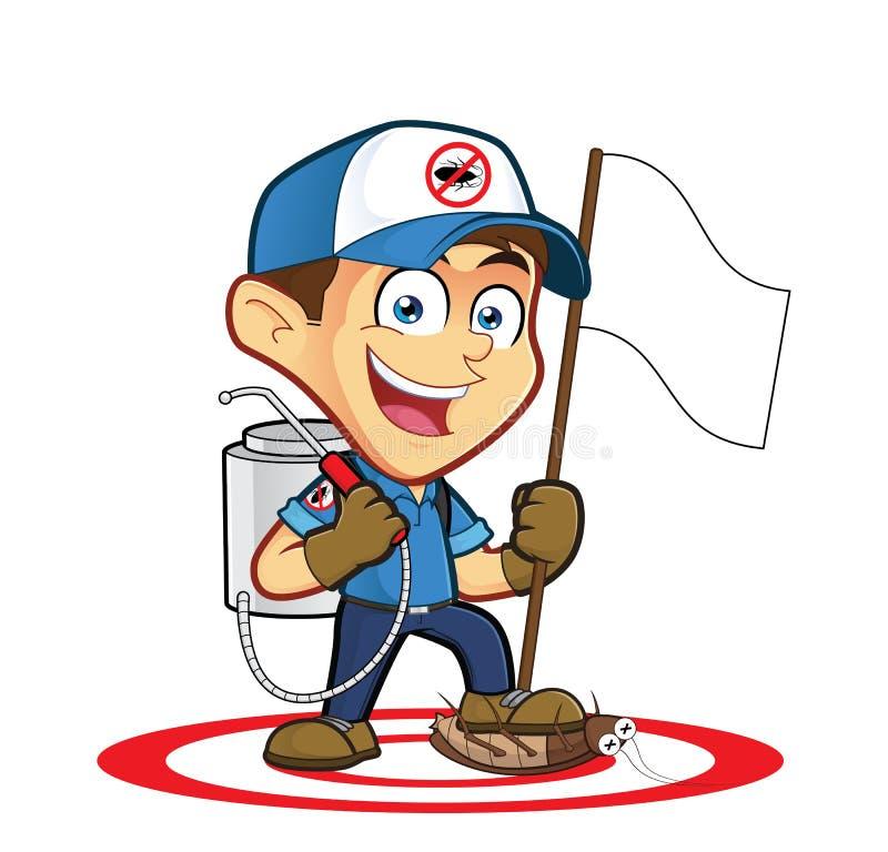 Exterminador ou controlo de pragas que guardam a bandeira ilustração do vetor