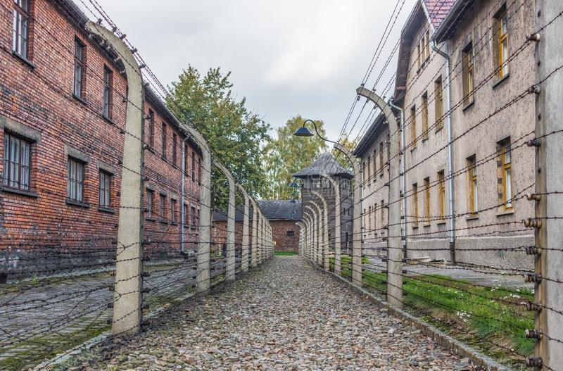 The extermination camp of Auschwitz, Poland. Auschwitz, Poland - the most deadliest among the extermination camps built during the holocaust, Auschwitz still stock photo