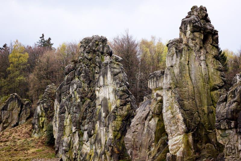 德国比勒费尔德附近恶劣天气下的海外石块 免版税图库摄影