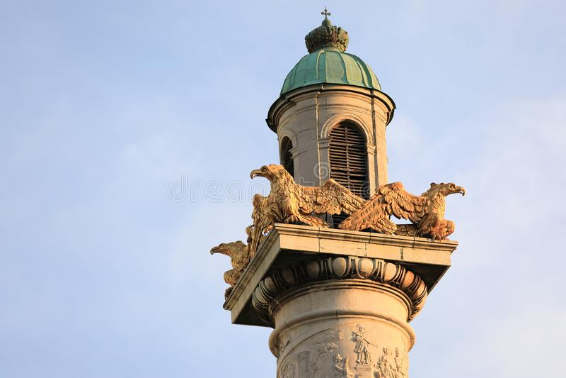 External architectural details of Karlskirche Vienna. Austria. Tower royalty free stock photo