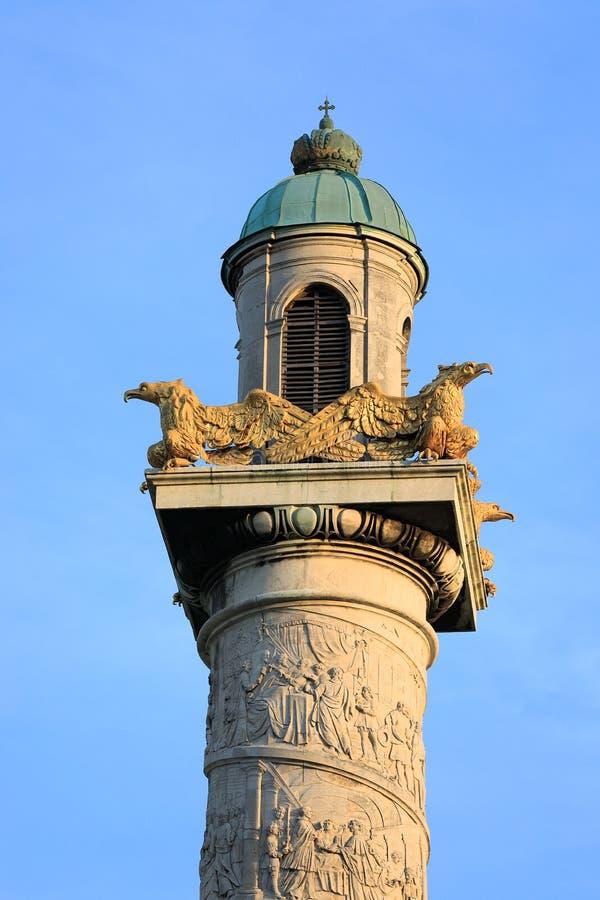 External architectural details of Karlskirche Vienna. Austria. Tower stock photography