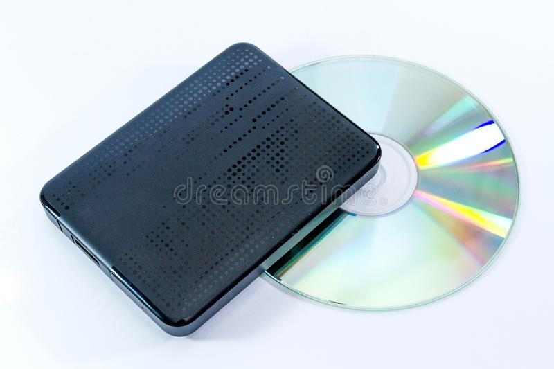 External black hard drive with CD royalty free stock photos