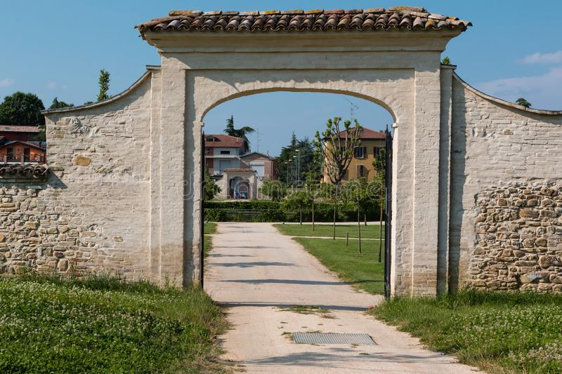 External Entrance and Footpath of Historical Green Park Farnesiano in Sala Baganza Parma, Italy.  stock image