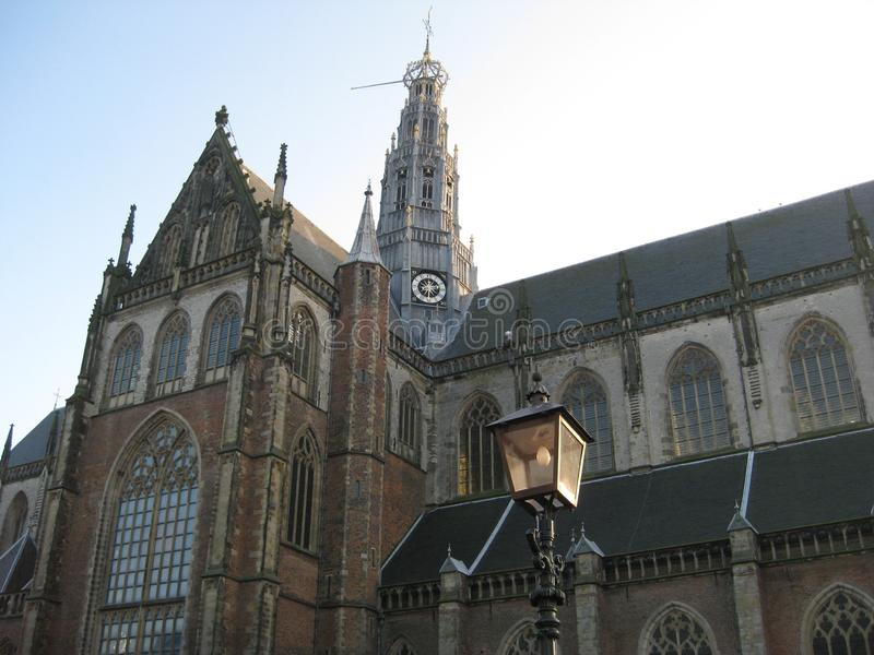 The external of the Grote Kirke in Haarlem stock image