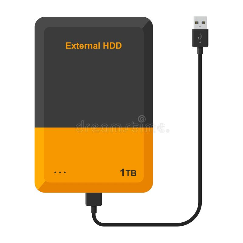 External hard disk drive with USB cable isolated on white background. Portable extern HDD. Memory drive. Vector illustration stock illustration